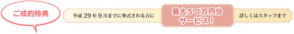 ご成約特典 平成29年9月までに挙式される方に最大50万円分サービス。詳しくはスタッフまで